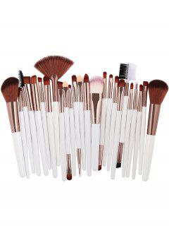 25Pcs Synthetic Fiber Hair Makeup Brush Collection - White
