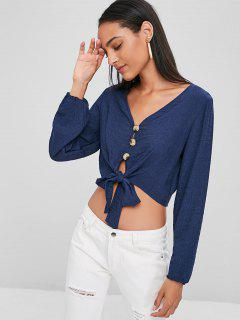 Button Up Long Sleeve Tie Front Top - Deep Blue S