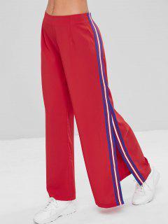 Stripe Panel Slit Wide Leg Pants - Lava Red L
