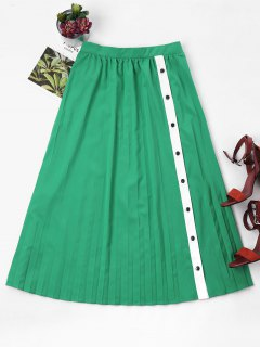 A Line Pleated Long Skirt - Forest Green L
