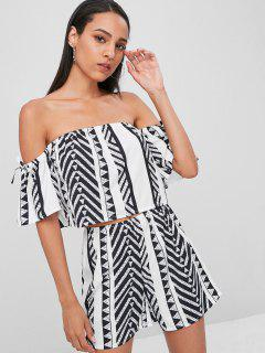 Off The Shoulder Printed Shorts Set - White L
