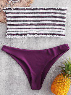 Conjunto De Bikini Palabra De Honor A Rayas - Oscuro Clavel Rosa S