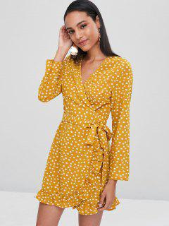Polka Dot Ruffles Wrap Dress - Bee Yellow L