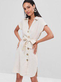Slit Button Up Shirt Dress - Warm White L