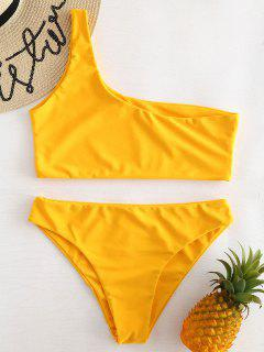 One Shoulder Bikini Set - Rubber Ducky Yellow S