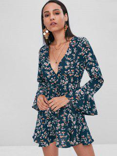 Drawstring Ruffles Floral Dress - Marble Blue S