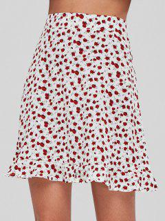 Back Zipper Ruffles Mini Skirt - White L