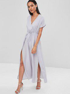 Crossover Double Slit Maxi Dress - Gray M