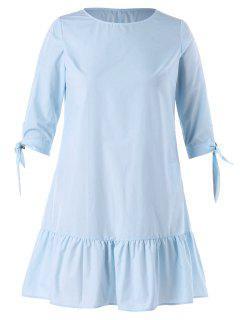 Knot Sleeve Plus Size Flounce Dress - Light Sky Blue 3x