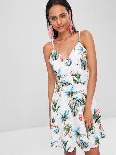 Flamingo Print Cami Dress - White Xl