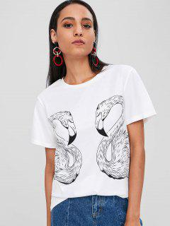 Round Neck Flamingo Print Tee - White L