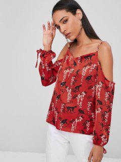 Printed Cold Shoulder Top - Cherry Red S