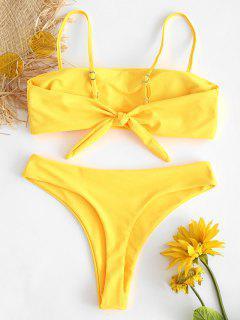 Bikini Taille Haute En String Et Noué  - Jaune Canard Caoutchouc L