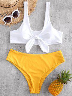 Knot Plus Size Tank Bikini Set - Bright Yellow 2x