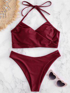 Bikini Croisé à Taille Haute - Vin Rouge L
