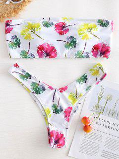 Leaves Print Lace-up Bandeau Bikini - White S