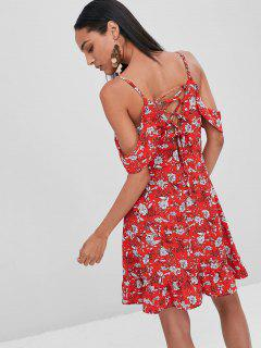 Ruffles Lace Up Floral Dress - Lava Red M