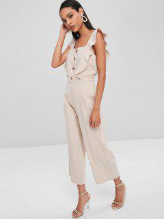 Square Neck Ruffle Wide Leg Jumpsuit - Beige L