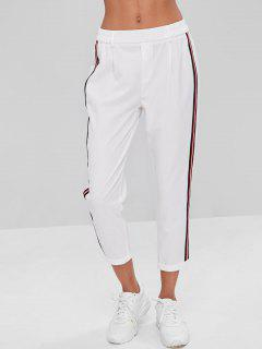 Stripes Patched Rolled Hem Pants - White M