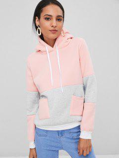 Color Block Hoodie With Pockets - Light Pink M