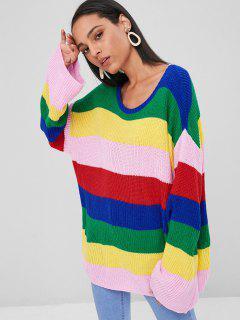 Boyfriend Color Block Tunic Sweater - Multi