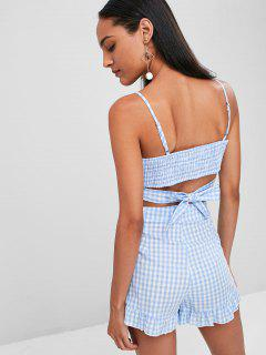 Smocked Back Gingham Shorts Set - Sea Blue L