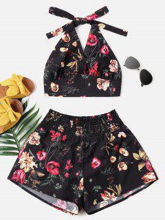 Print Halter Top And Shorts Set - Black L