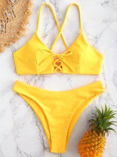 Cross Strap Lace-up Bikini - Rubber Ducky Yellow S