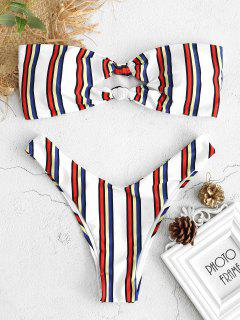 Knoten Bunte Streifen Bandeau Bikini Set - Multi L