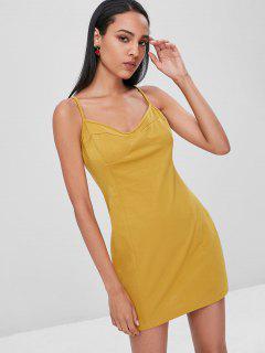 Slip Club Bodycon Dress - Golden Brown M