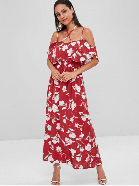 Vestido maxi frio con volantes florales - Vino Tinto S Mobile