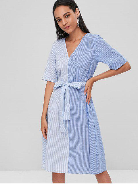 hot Button Up Striped Casual Dress - PASTEL BLUE M Mobile