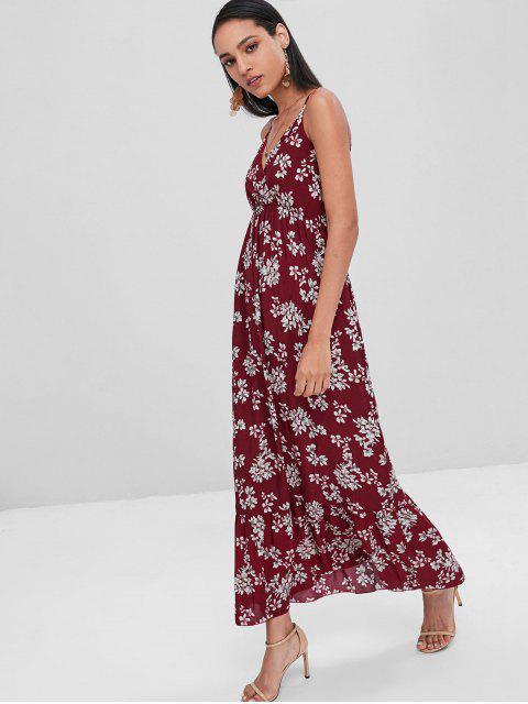 Vestido a media pierna con estampado de camuflaje y estampado floral - Maroon S Mobile