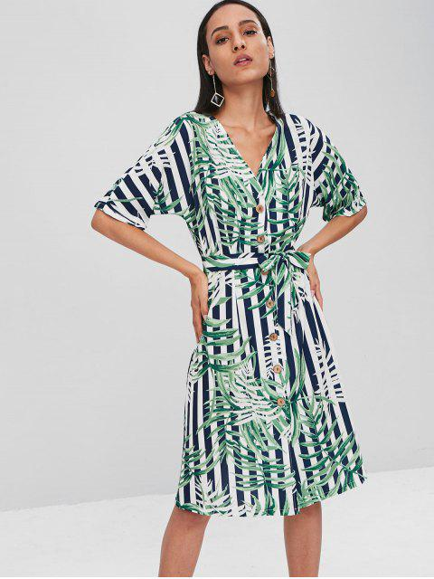 unique Leaf Print Button Up Striped Belted Midi Dress - MULTI S Mobile