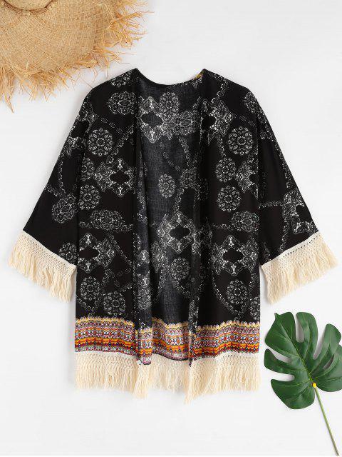 outfits Printed Tassels Kimono - BLACK L Mobile