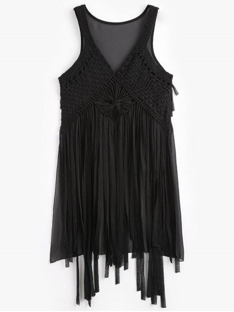 Macrame Fringed Cover Up - Negro Única Talla Mobile