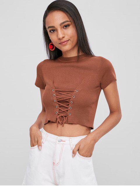 Camiseta de punto con cordones recortada - Castaña Talla única Mobile