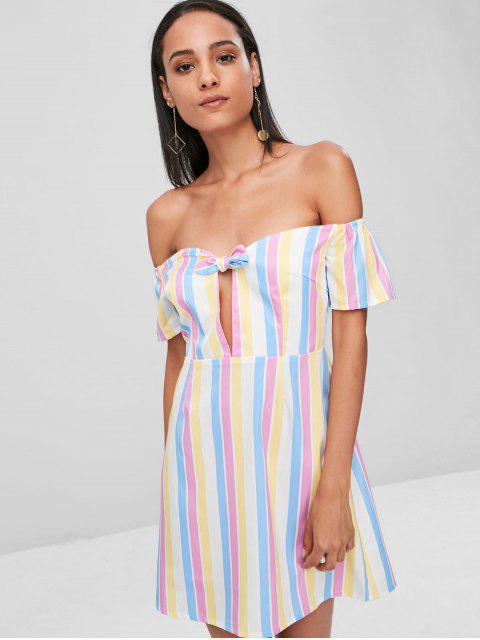 buy Knotted Stripes Off Shoulder Dress - MULTI M Mobile