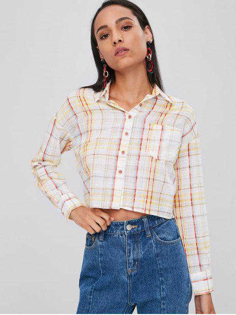 Knopf Oben Kariertes Taschen Shirt - Multi S Mobile