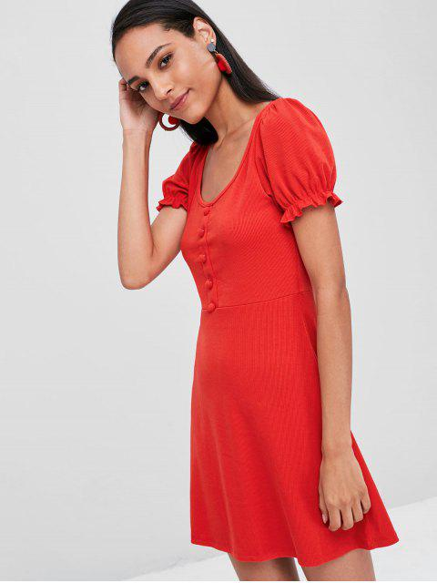 new Ruffle Trim Fit and Flare Dress - RED XL Mobile