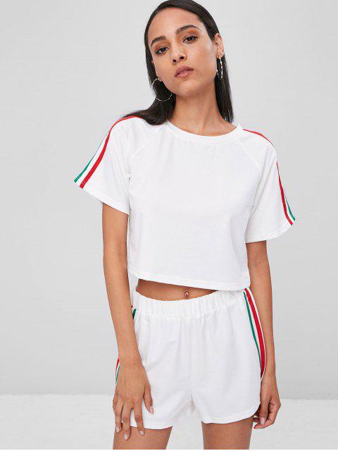 T-shirt et Short Court en Ensemble à Rayures Rapiécées - Blanc S Mobile