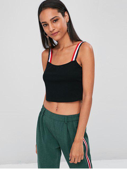 women's Striped Straps Crop Tank Top - BLACK L Mobile