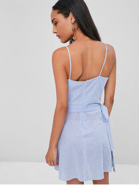 hot Striped Cami Wrap Dress - SKY BLUE XL Mobile