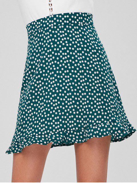 Mini-jupe à Volants et à Fermeture Glissière - Vert Mer Moyen L Mobile