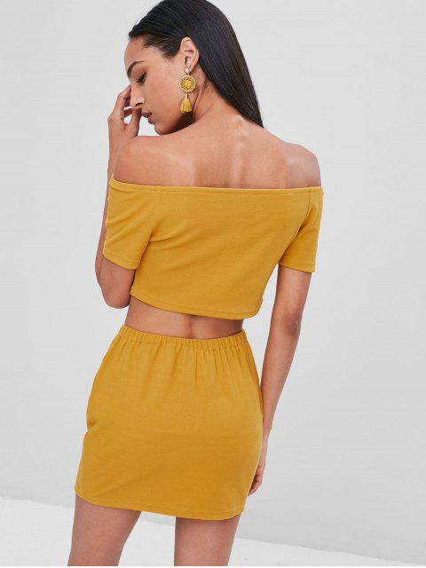 best Buttoned Off Shoulder Top and Skirt Set - BEE YELLOW M Mobile