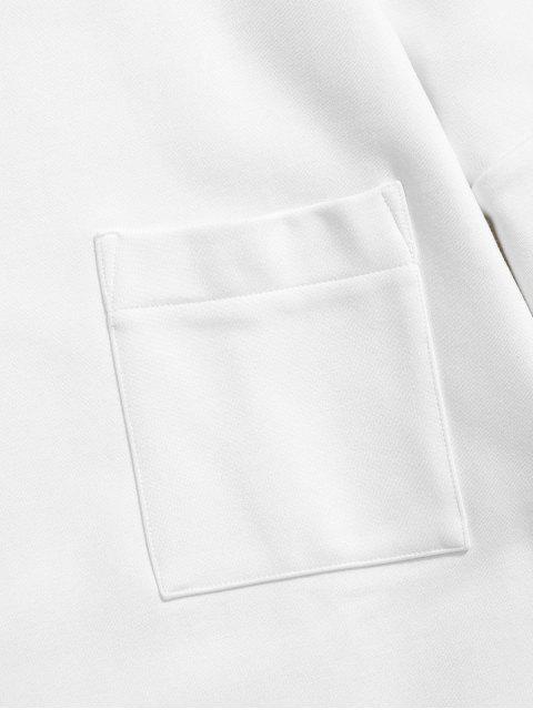 affordable Solid Color Pocket Fleece Sweatshirt - WHITE 2XL Mobile