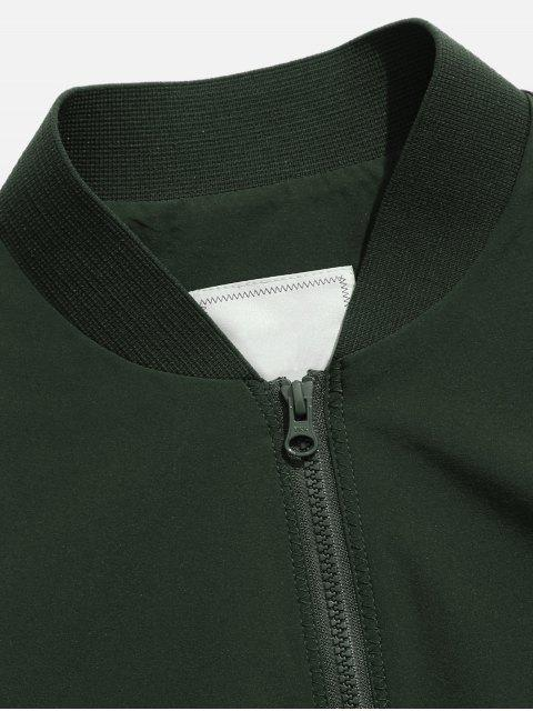 shop Pockets Quick Dry Zipper Baseball Jacket - CAMOUFLAGE GREEN 3XL Mobile