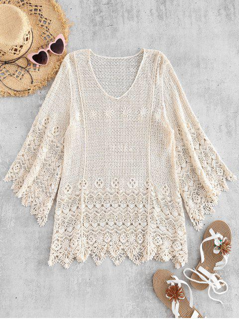 affordable Bell Sleeve Crochet Top - WARM WHITE ONE SIZE Mobile