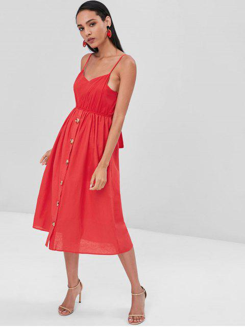womens Button Up Knotted Cami Dress - RED L Mobile
