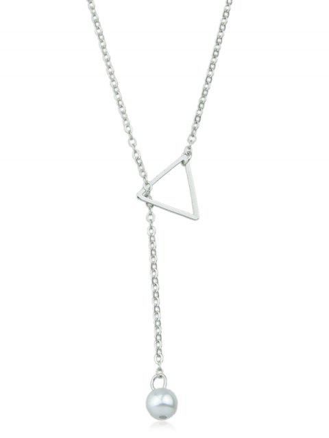 lady Artificial Pearl Star Designed Chain Necklace - SILVER  Mobile